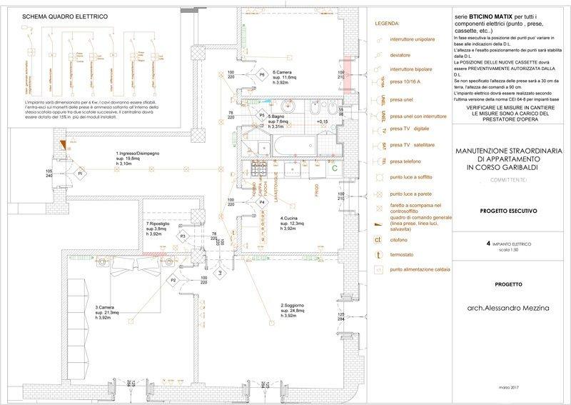 ristrutturazione di un appartamento: schema impianto elettrico